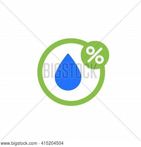 Humidity Icon, Water Drop And Percent Vector