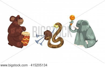 Wild Animals Playing Musical Instruments Set, Bear, Snake, Elephant Playing Drum, Bagpipes, Maracas