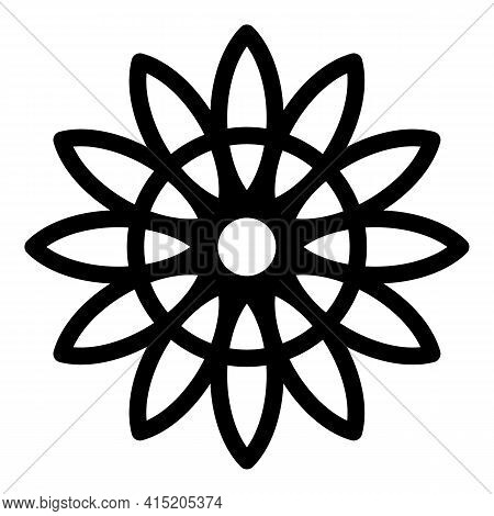 Sunflower Icon. Outline Sunflower Vector Icon For Web Design Isolated On White Background