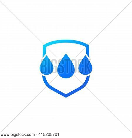 Waterproof, Water Resistant Icon With A Shield