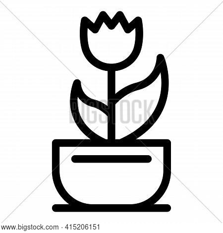 Tulip Pot Icon. Outline Tulip Pot Vector Icon For Web Design Isolated On White Background