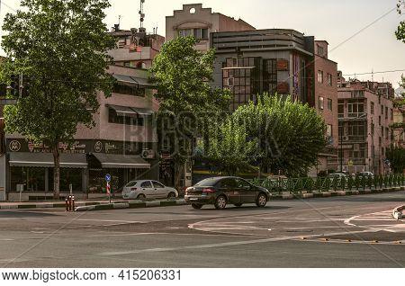 Tehran,iran,july 07,2020:modern Blocks Along Murza Shiraz Street In The Capital Of The Islamic Repub