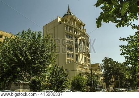 Tehran,iran,july 07,2020:white Building With A Round Dome With A Spire,gazebos,columns And Oval Wind