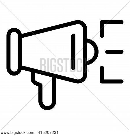Community Megaphone Icon. Outline Community Megaphone Vector Icon For Web Design Isolated On White B