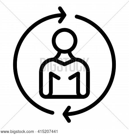 Change Manager Icon. Outline Change Manager Vector Icon For Web Design Isolated On White Background