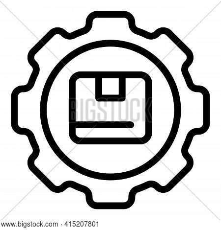 Parcel Gear Shipping Icon. Outline Parcel Gear Shipping Vector Icon For Web Design Isolated On White