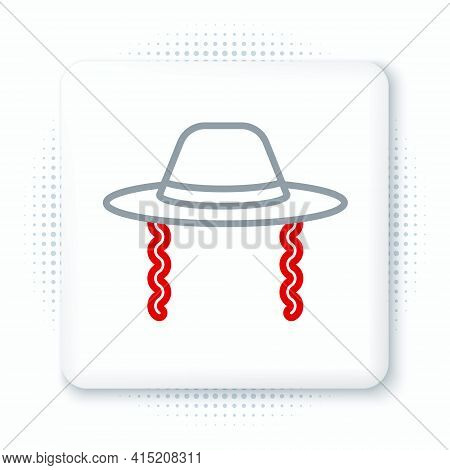 Line Orthodox Jewish Hat With Sidelocks Icon Isolated On White Background. Jewish Men In The Traditi