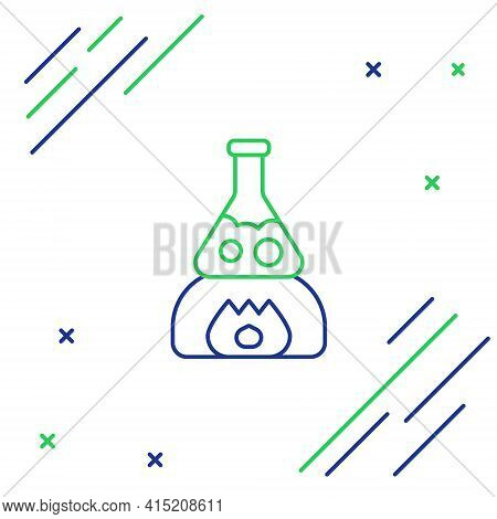 Line Glass Test Tube Flask On Fire Heater Experiment Icon Isolated On White Background. Laboratory E