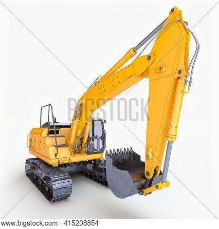 yellow excavator machine on the white background. 3d render