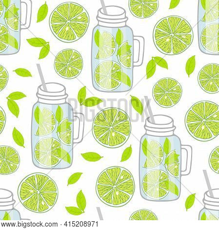 Glass Mug With Green Cocktail Seamless Pattern. Lime And Mint. Hand Drawn Sketch Isolated. Infused W