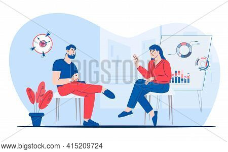 Job Interview With Candidate In A Relaxed Atmosphere, Flat Vector Illustration Isolated On White Bac
