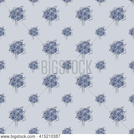 Floral Seamless Pattern With Bouquet Of Cornflowers On A Blue Background