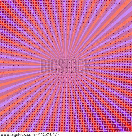 Pop Art Radial Colorful Comics Book Magazine Cover. Striped Orange Modern Background. Cartoon Funny