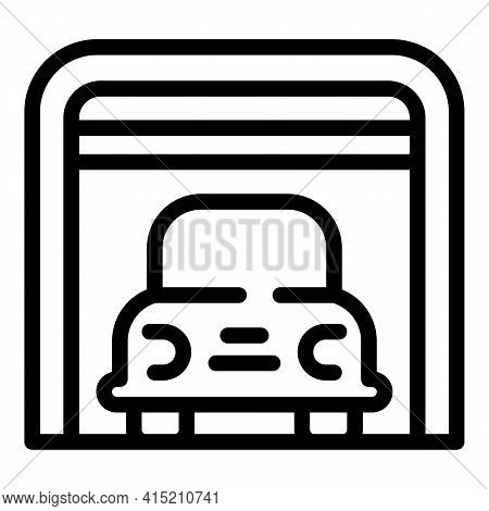 Indoor Parking Icon. Outline Indoor Parking Vector Icon For Web Design Isolated On White Background