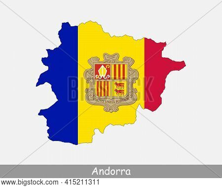 Andorra Map Flag. Map Of Andorra With The National Flag Of Andorra Isolated On White Background. Vec