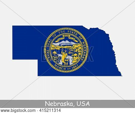Nebraska Map Flag. Map Of Ne, Usa With The State Flag Isolated On White Background. United States, A