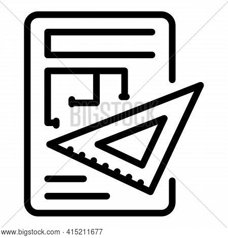 Architectural Edit Icon. Outline Architectural Edit Vector Icon For Web Design Isolated On White Bac