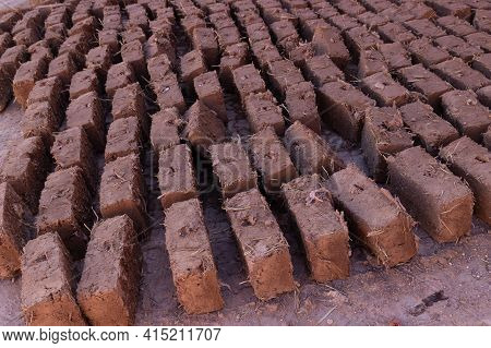 Mudbricks Are Dried In The Sun In Morocco. A Mud-brick Is An Air-dried Brick, Made Of A Mixture Of L