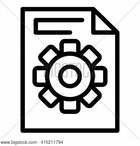 Gear Sheet Icon. Outline Gear Sheet Vector Icon For Web Design Isolated On White Background