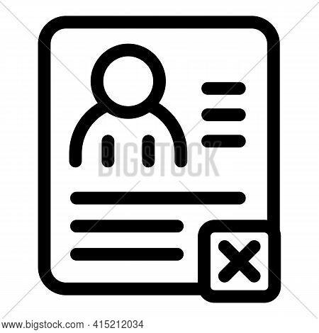 Delete User Profile Icon. Outline Delete User Profile Vector Icon For Web Design Isolated On White B