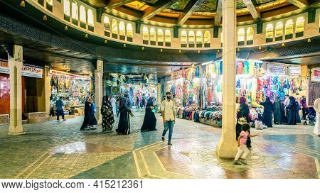 Muscat, Oman, December 3, 2016: Shops at Mutrah Souk - the largest market in Muscat Oman
