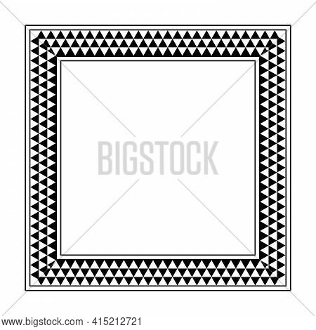 Triangle Checkered Pattern Square Frame. Oblong Border With Serrated Pattern, Consisting Of Three Ro