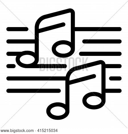 Ballet Music Notes Icon. Outline Ballet Music Notes Vector Icon For Web Design Isolated On White Bac