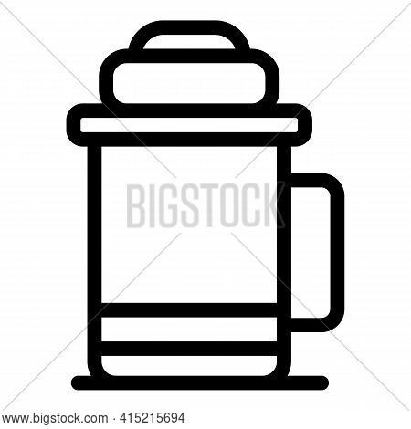 Thermo Cup Icon. Outline Thermo Cup Vector Icon For Web Design Isolated On White Background