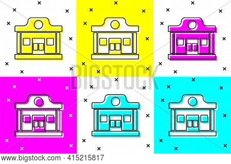 Set Wild West Saloon Icon Isolated On Color Background. Old West Building. Vector