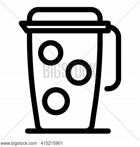 Thermos Mug Icon. Outline Thermos Mug Vector Icon For Web Design Isolated On White Background