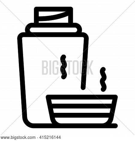 Thermos Hot Tea Icon. Outline Thermos Hot Tea Vector Icon For Web Design Isolated On White Backgroun