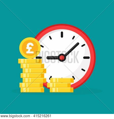 Time Is Money. Golden Pound Sterling Coins Stack With Red Clock On Turquoise Background. Fast Time S