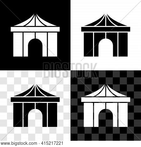 Set Circus Tent Icon Isolated On Black And White, Transparent Background. Carnival Camping Tent. Amu