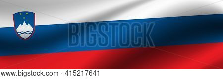 Banner With The Flag Of Slovenia. Fabric Texture Of The Flag Of Slovenia.