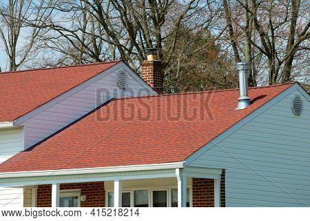 Chimneys On The Roof Of The House Sky Top Metal Red Pipe Steel
