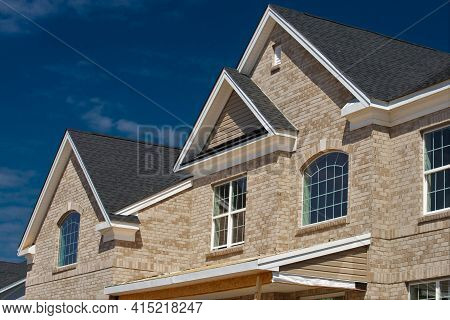 New House Is Tiled With Bricks Wall Building Fasade Roof