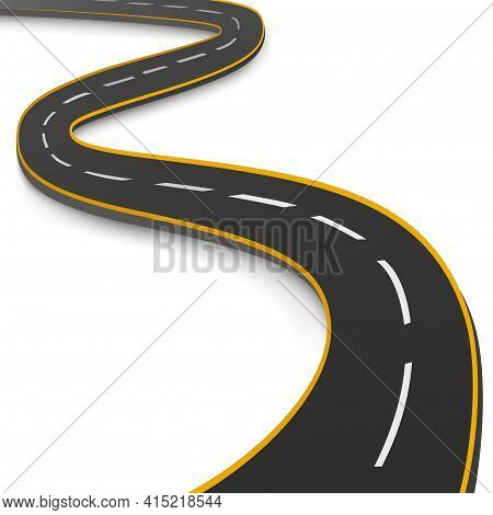 Realistic Winding Motor Road Stretching Into The Horizon - Vector Illustration