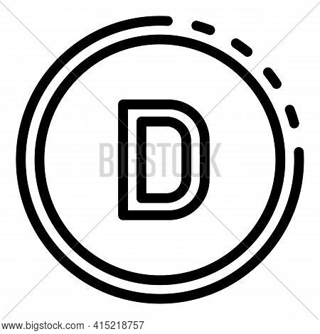 Circle Vitamin D Icon. Outline Circle Vitamin D Vector Icon For Web Design Isolated On White Backgro