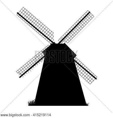 Windmill Silhouette Isolated On White Background. Black Windmill Icon, Sign Or Pictogram. Mill And H