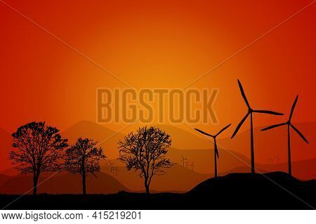Landscape With Wind Turbines At Sunset Background. Silhouettes Of Windmill Farm, Trees And Fence At