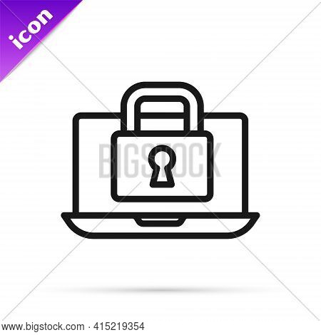 Black Line Laptop And Lock Icon Isolated On White Background. Computer And Padlock. Security, Safety