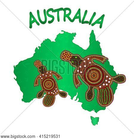 Map Of Australia With Two Platypus Isolated On White Background. Australian Continent. Australia Abo