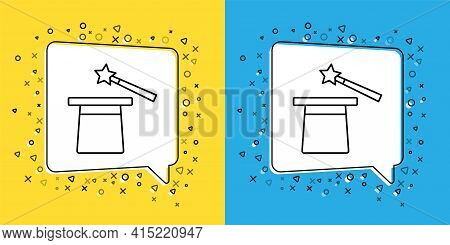Set Line Magic Hat And Wand Icon Isolated On Yellow And Blue Background. Magic Trick. Mystery Entert