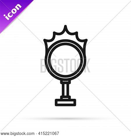 Black Line Circus Fire Hoop Icon Isolated On White Background. Ring Of Fire Flame. Round Fiery Frame