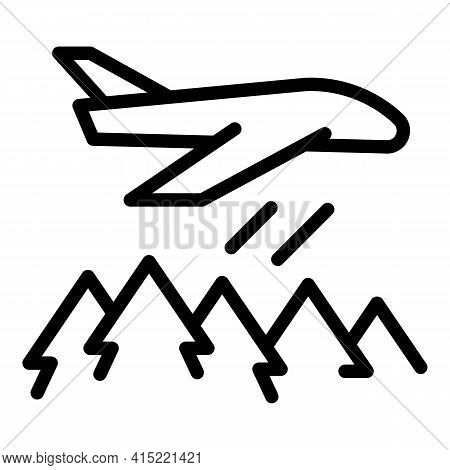 Plane Firefighter Icon. Outline Plane Firefighter Vector Icon For Web Design Isolated On White Backg