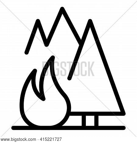 Flammable Forest Icon. Outline Flammable Forest Vector Icon For Web Design Isolated On White Backgro