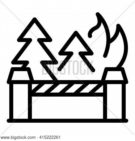 Forest Destruction Icon. Outline Forest Destruction Vector Icon For Web Design Isolated On White Bac