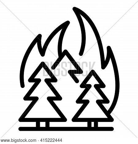 Forest Blazing Icon. Outline Forest Blazing Vector Icon For Web Design Isolated On White Background