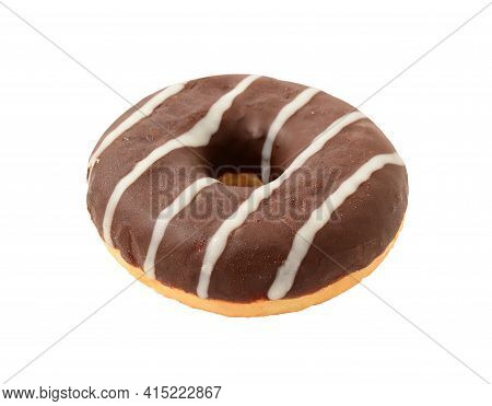One Chocolate Donut With Sugar Stripes Topping Isolated Over White Background.