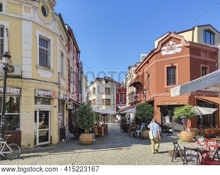 Plovdiv, Bulgaria - July 20, 2020: Street And Houses At  Pedestrian Street Of City Of Plovdiv, Bulga